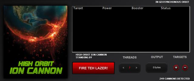 HOIC - high orbit ion cannon - user interface